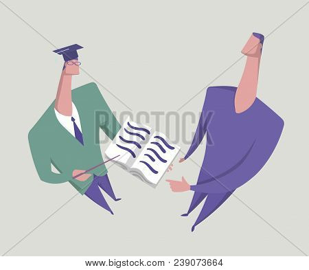 Tutor And Student. Scholar Showing Book To His Opponent. Consulting, Exam. Education For People. Con