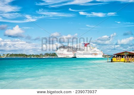 Nassau, Bahamas - January 07, 2016: Cruise Ships In Port. Ocean Liners In Caribbean Sea On Sunny Blu