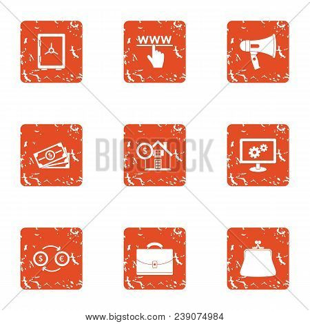 Www Cash Icons Set. Grunge Set Of 9 Www Cash Vector Icons For Web Isolated On White Background