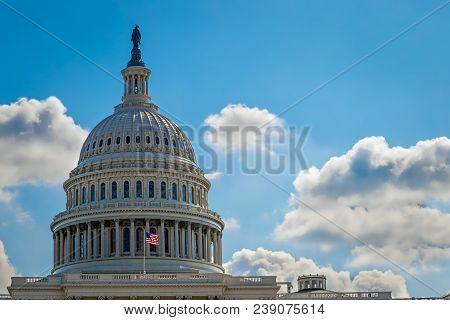 The Front Of The Us Capitol Building In Washington Dc.
