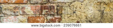 Banner Of Background Of Old Vintage Brick Wall With Concrete, Weathered Texture Of Racked Concrete V