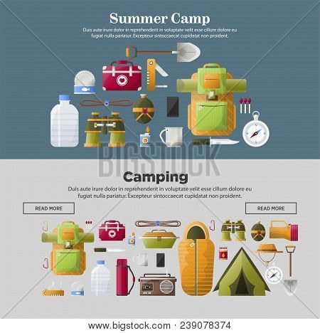 Summer Camp Web Banners Templates For Camping Scout Adventure. Vector First-aid Kit And Camp Tent Or