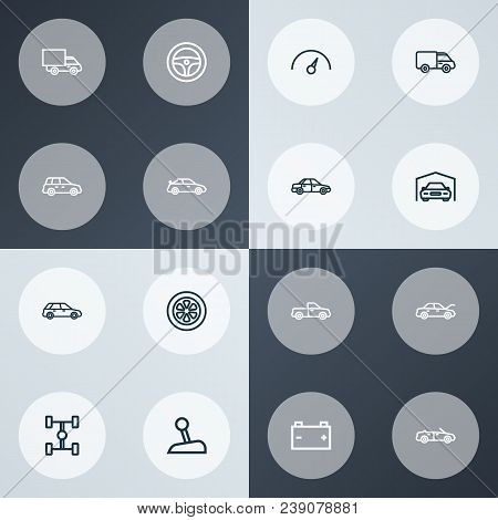 Car Icons Line Style Set With Sports Auto, Crossover, Truck And Other Sedan Elements. Isolated Vecto