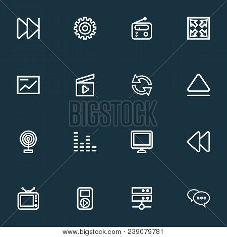 Media Icons Line Style Set With Broadcast, Comment, Audio And Other Chart Elements. Isolated  Illust