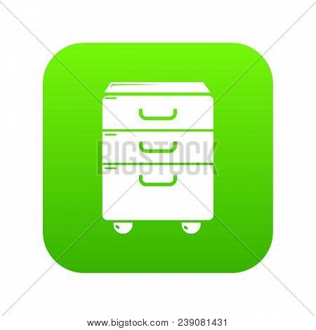 Office Closet Icon Green Vector Isolated On White Background