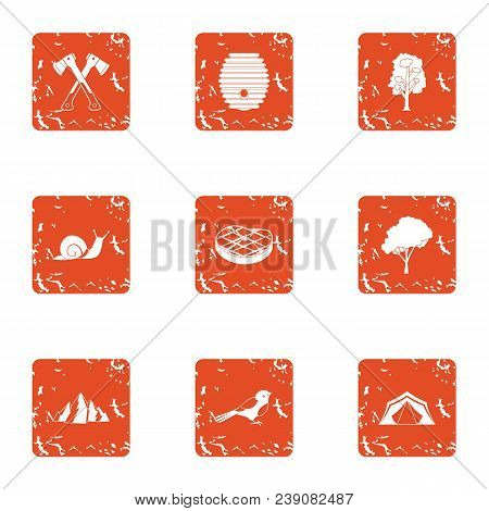 Circuit Relax Icons Set. Grunge Set Of 9 Circuit Relax Vector Icons For Web Isolated On White Backgr