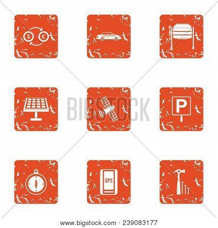 Observation Compass Icons Set. Grunge Set Of 9 Observation Compass Vector Icons For Web Isolated On