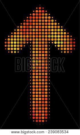 Pixelated Arrow Direction Icon. Bright Pictogram In Orange Color Shades On A Black Background. Vecto