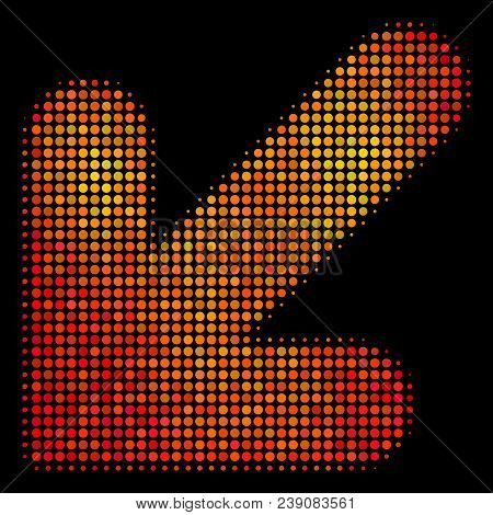 Dot Arrow Down Left Icon. Bright Pictogram In Orange Color Variations On A Black Background. Vector