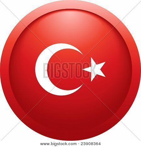 Turkey Round Flag