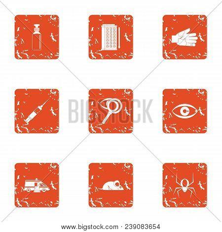 Poison Disease Icons Set. Grunge Set Of 9 Poison Disease Vector Icons For Web Isolated On White Back
