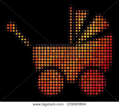 Dot Baby Carriage Icon. Bright Pictogram In Orange Color Tones On A Black Background. Vector Halfton