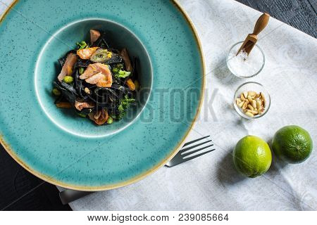 Cuttlefish Ink Black Pasta With Salmon And Vegetables