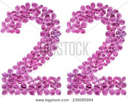 Arabic Numeral 22, Twenty Two, From Flowers Of Lilac, Isolated On White Background