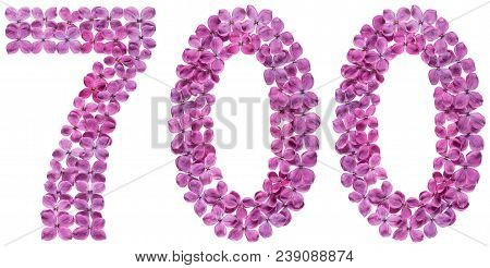 Arabic Numeral 700, Seven Hundred, From Flowers Of Lilac, Isolated On White Background