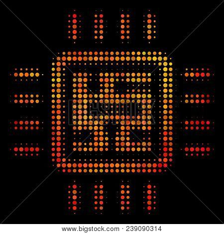Dotted Cpu Circuit Icon. Bright Pictogram In Hot Color Tones On A Black Background. Vector Halftone