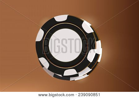 Casino Background Chips. Top View Of Black And White Chips On Gold Background. Online Casino Table C