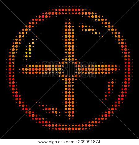 Dot Drone Screw Rotation Icon. Bright Pictogram In Fire Orange Color Hues On A Black Background. Vec