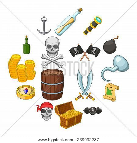 Pirate Culture Symbols Icons Set. Cartoon Illustration Of 16 Pirate Culture Symbols Vector Icons For