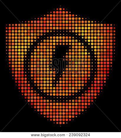 Pixel Electric Guard Icon. Bright Pictogram In Hot Color Variations On A Black Background. Vector Ha