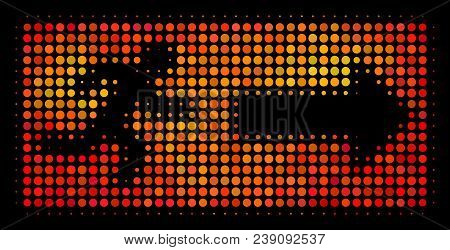 Dot Emergency Exit Icon. Bright Pictogram In Fire Orange Color Shades On A Black Background. Vector