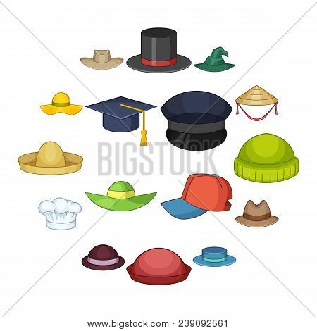 Hat Cap Icons Set. Cartoon Illustration Of 16 Hat Cap Vector Icons For Web