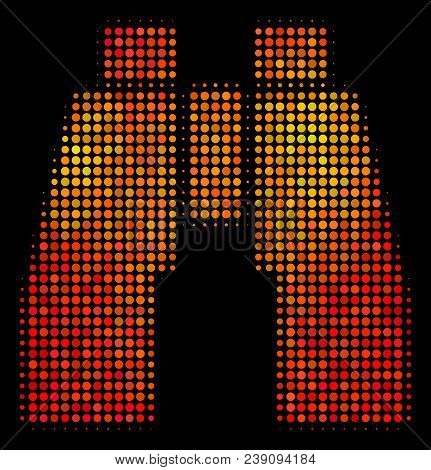 Pixelated Find Binoculars Icon. Bright Pictogram In Fire Orange Color Variations On A Black Backgrou