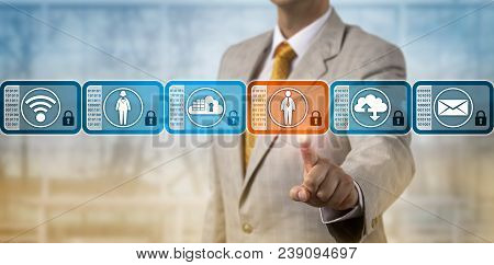 Unrecognizable Business Manager Is Selecting A Data Block In A Blockchain System. Information Techno