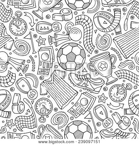 Cartoon Hand-drawn Soccer Seamless Pattern. Lots Of Symbols, Objects And Elements. Perfect Funny Vec