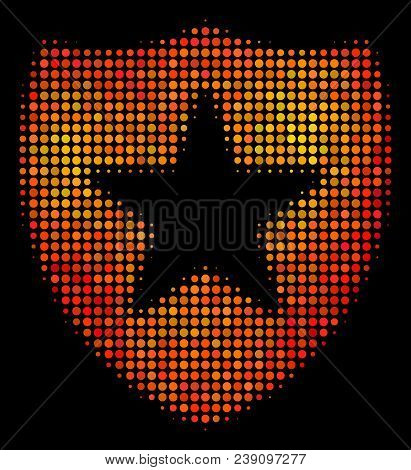 Pixelated Guard Icon. Bright Pictogram In Hot Color Hues On A Black Background. Vector Halftone Mosa