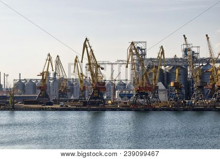 Cargo Harbour, Cargo Ship In Harbour, Loading Process Of Cargo Ship