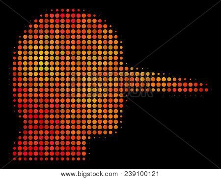 Pixelated Lier Icon. Bright Pictogram In Orange Color Shades On A Black Background. Vector Halftone