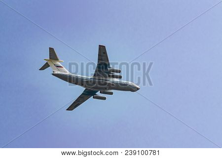 Moscow, Russia - May 04, 2018:  Military Transport Aircraft Il-76 Md During Victory Day Parade Rehea