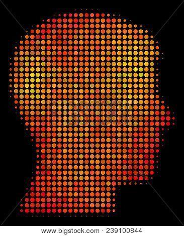 Pixel Man Head Profile Icon. Bright Pictogram In Fire Orange Color Tones On A Black Background. Vect