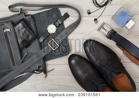 Leather Shoulder Bag For Men With Wallet And Wristwatch On It, Pairs Of Black Leather Men's Shoes, B