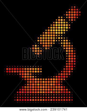 Pixel Microscope Icon. Bright Pictogram In Hot Color Shades On A Black Background. Vector Halftone P