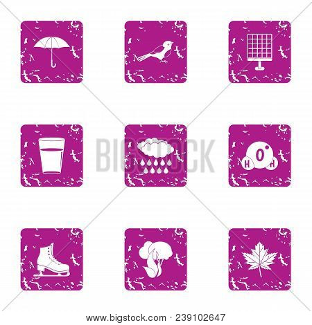 Winter Weekend Icons Set. Grunge Set Of 9 Winter Weekend Vector Icons For Web Isolated On White Back