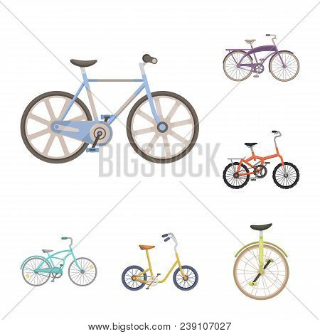 Various Bicycles Cartoon Icons In Set Collection For Design. The Type Of Transport Vector Symbol Sto