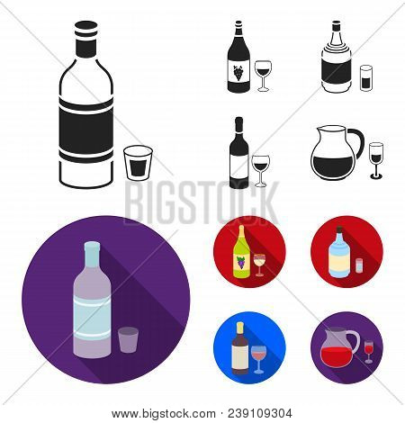 White Wine, Red Wine, Gin, Sangria.alcohol Set Collection Icons In Black, Flat Style Vector Symbol S
