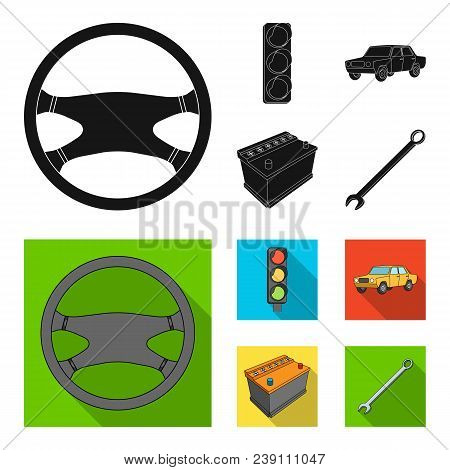 Traffic Light, Old Car, Battery, Wrench, Car Set Collection Icons In Black, Flat Style Vector Symbol