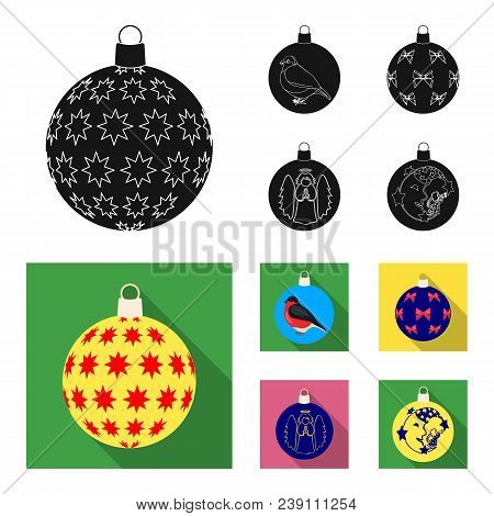 New Year Toys Black, Flat Icons In Set Collection For Design.christmas Balls For A Treevector Symbol