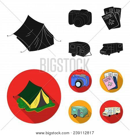 Vacation, Photo, Camera, Passport .family Holiday Set Collection Icons In Black, Flat Style Vector S