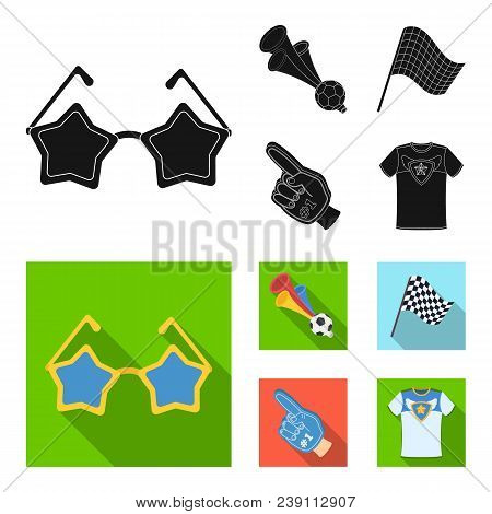Pipe, Uniform And Other Attributes Of The Fans.fans Set Collection Icons In Black, Flat Style Vector