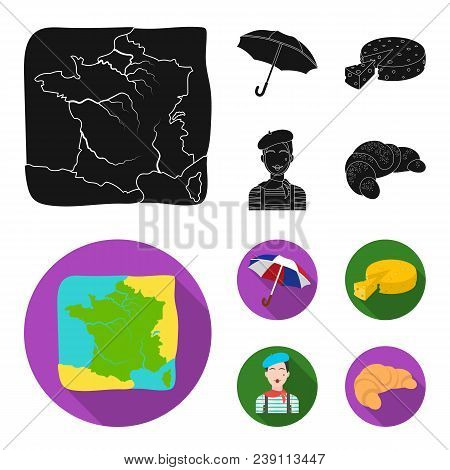 Umbrella, Traditional, Cheese, Mime .france Country Set Collection Icons In Black, Flat Style Vector