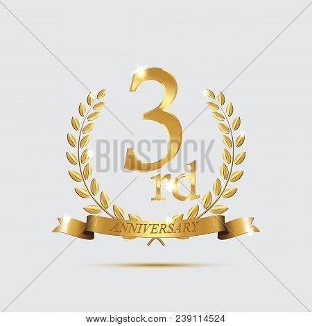 3 Anniversary Golden Symbol. Golden Laurel Wreaths With Ribbons And Third Anniversary Year Symbol On