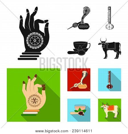 Country India Black, Flat Icons In Set Collection For Design.india And Landmark Vector Symbol Stock