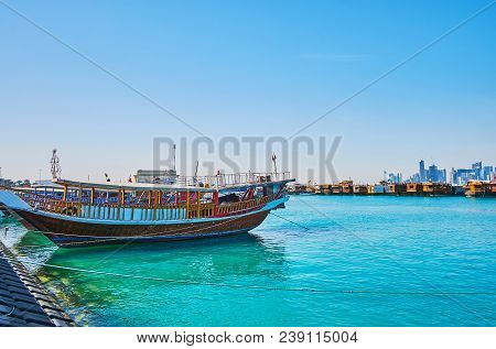 Traditional Dhow Boats Are Very Popular In City, The Tourist Harbor Is Full Of These Wooden Vessels,
