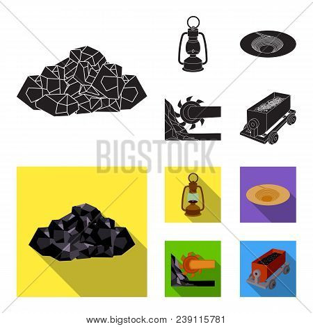 A Miner Lamp, A Funnel, A Mining Combine, A Trolley With Ore.mining Industry Set Collection Icons In