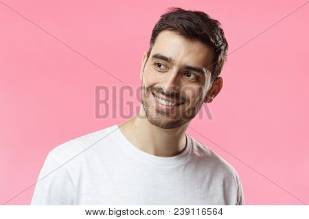 Closeup Headshot Of Young European Caucasian Man Pictured Isolated On Pink Background Smiling Happil