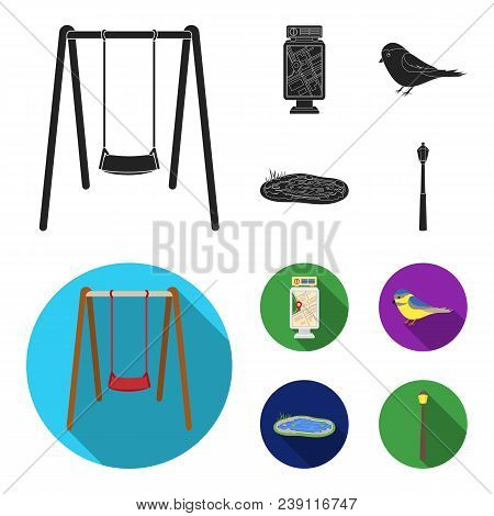 Territory Plan, Bird, Lake, Lighting Pole. Park Set Collection Icons In Black, Flat Style Vector Sym